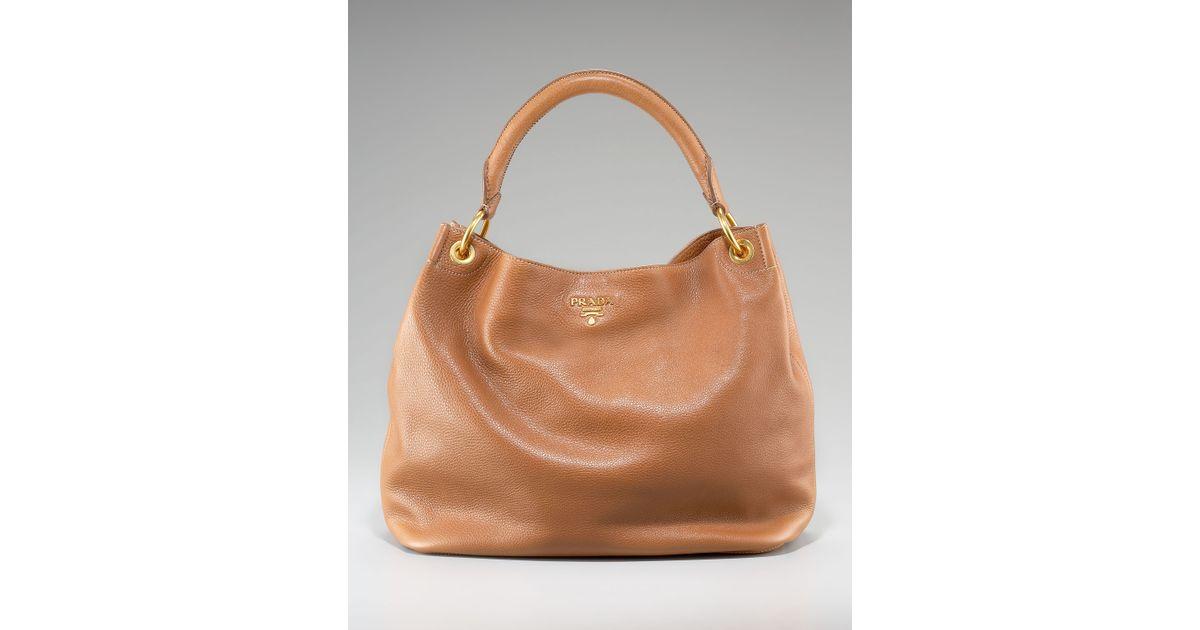 dcf9e1f1ea5de Lyst - Prada Vitello Daino Pebbled Calfskin Leather Hobo in Brown