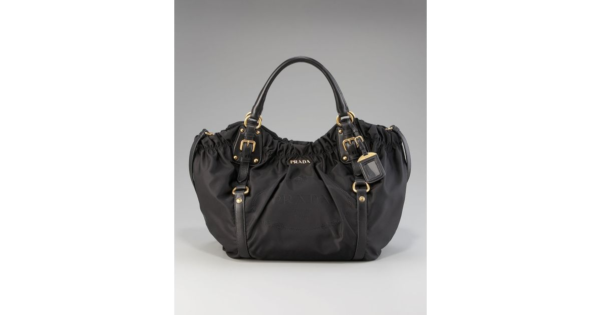 16b900cde1f7 Lyst - Prada Nylon and Lambskin Shoulder Bag in Black