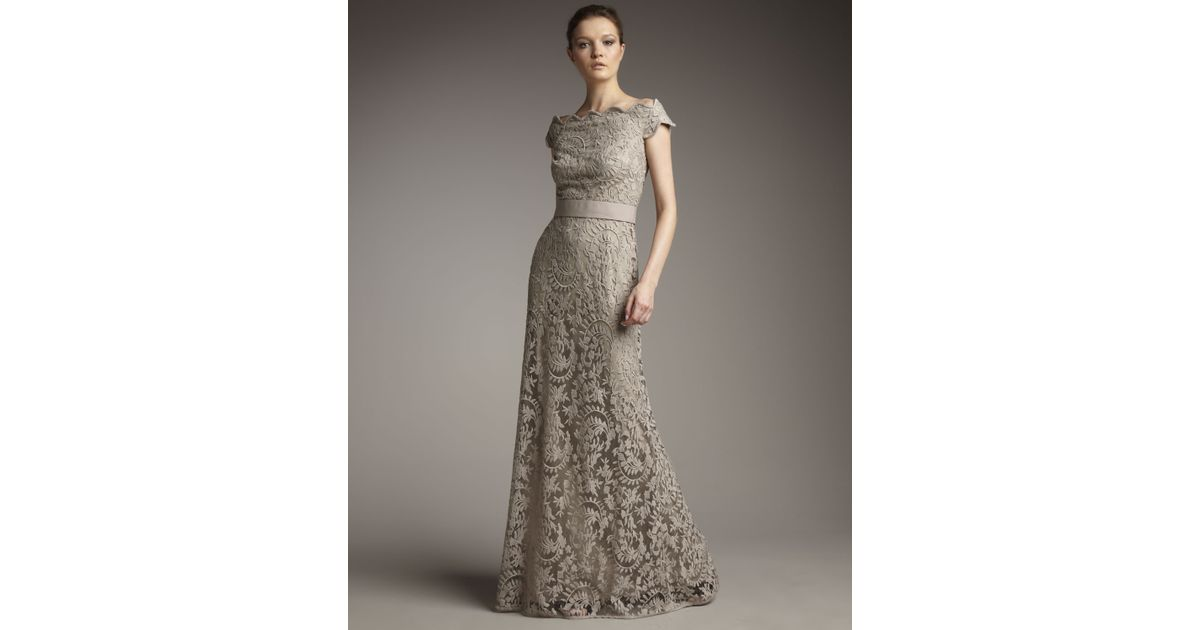 Lyst - Tadashi Shoji Off-the-shoulder Lace Gown in Gray