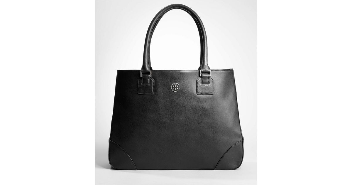 07e8c57f636 Lyst - Tory Burch Robinson East west Tote in Black