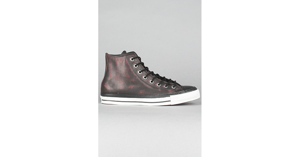 9ec3c907240c42 Lyst - Converse The Chuck Taylor Leather Hi Sneaker in Black   Cranberry in  Black for Men