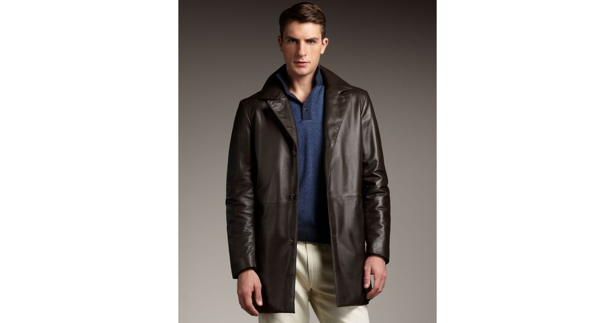 Loro piana Leather Car Coat in Brown for Men | Lyst