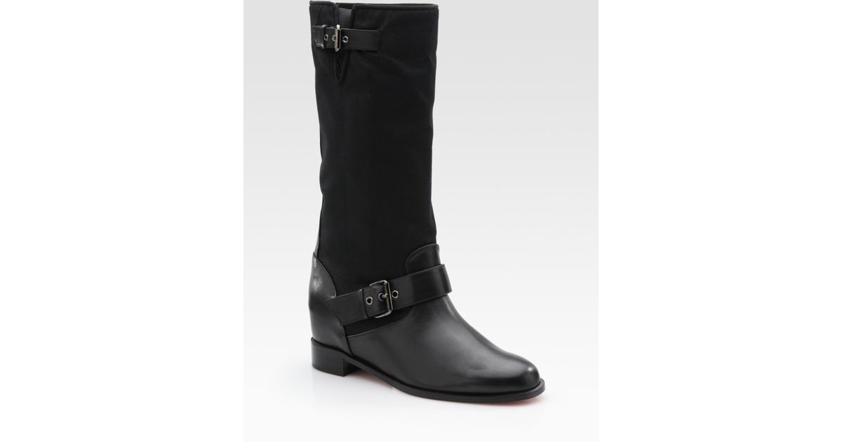 ac31368c188e Lyst - Christian Louboutin Ajasmine Leather Mid-calf Motorcycle Boots in  Black