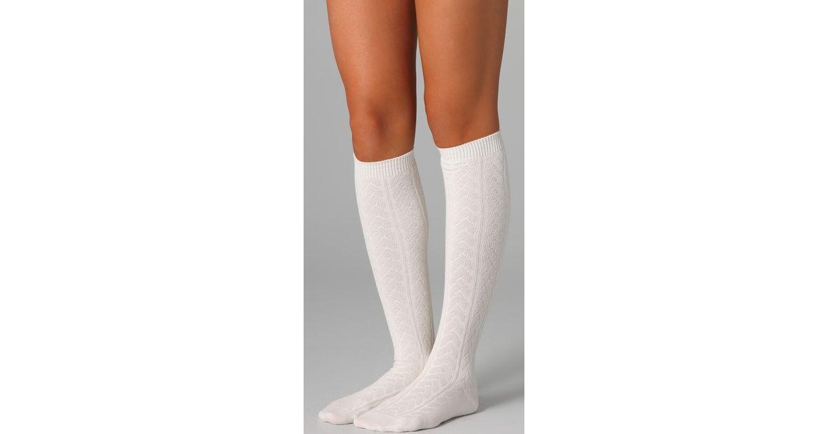 df23e7494 Falke Striggings Cable Knit Knee High Socks in White - Lyst