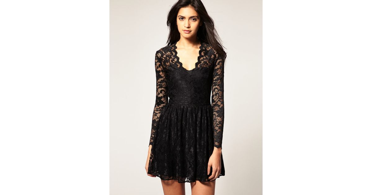 Lyst Asos Collection Asos Lace Skater Dress With Long Fitted