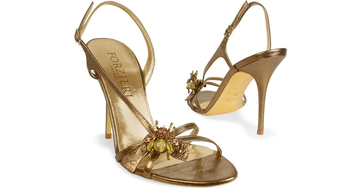 Forzieri Bumble Bee Bronze Metallic Leather Sandal Shoes in ...