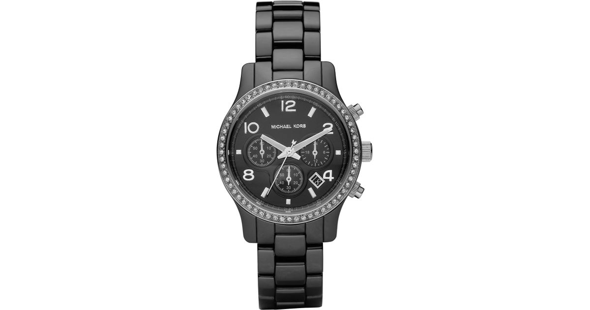 1c8a9e1ab Lyst - Michael Kors Black Ceramic Glitz Watch in Black
