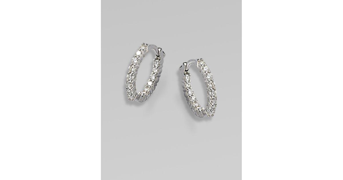 Lyst Roberto Coin 18k White Gold Diamond Extra Small Hoop Earrings In Metallic