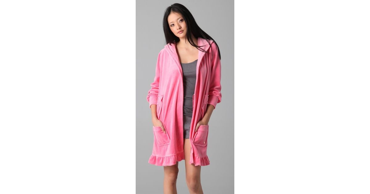 0e11894b45 Juicy Couture - Pink Velour Robe with Tie - Lyst