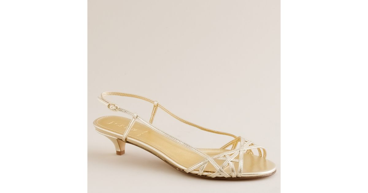 9641b8a94a4f5 Lyst - J.Crew Jillian Strappy Kitten Heels in Metallic