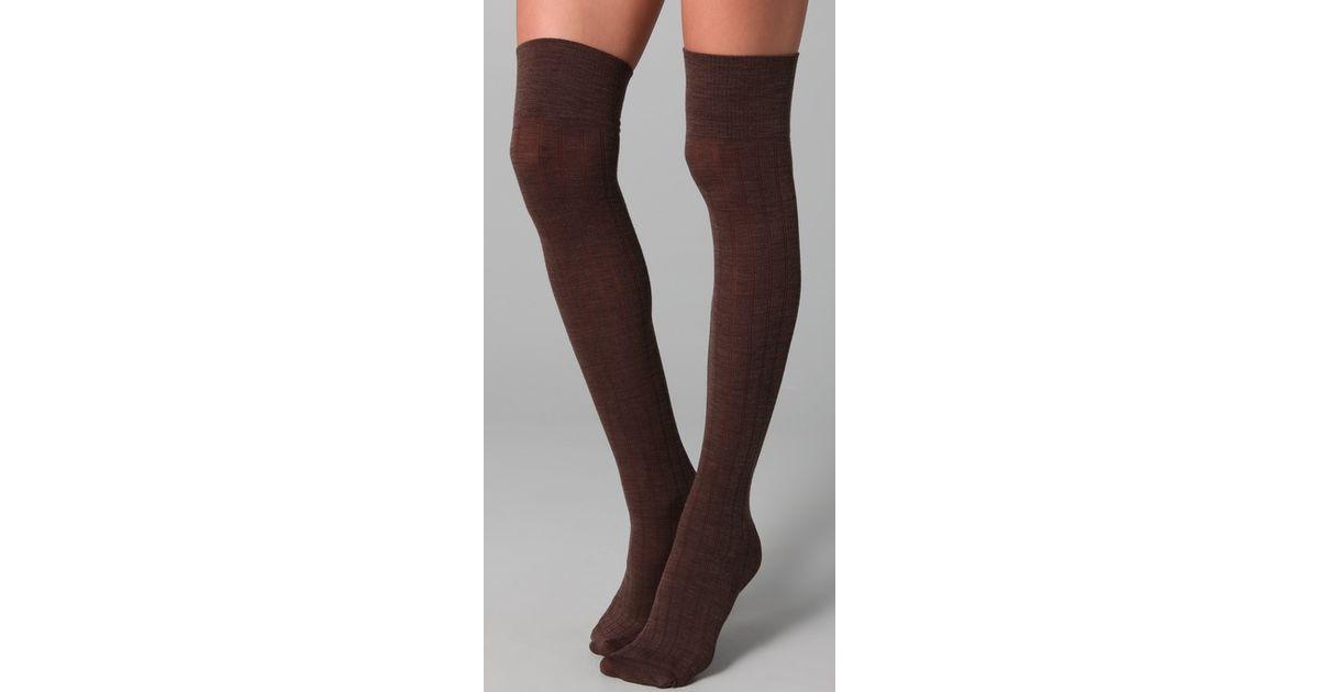 64cb60d78b827 Club Monaco Wool Thigh High Socks in Brown - Lyst