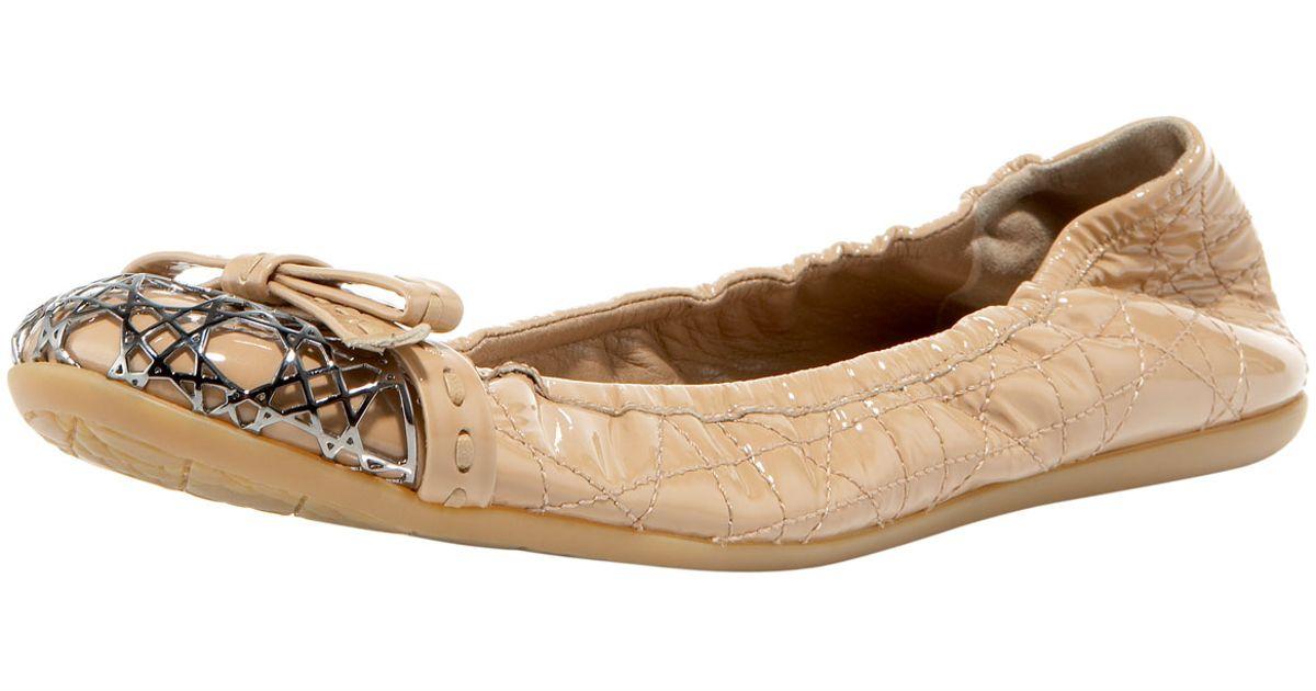488f229f9d476e Dior Metal-cannage Cap-toe Ballerina in Natural - Lyst
