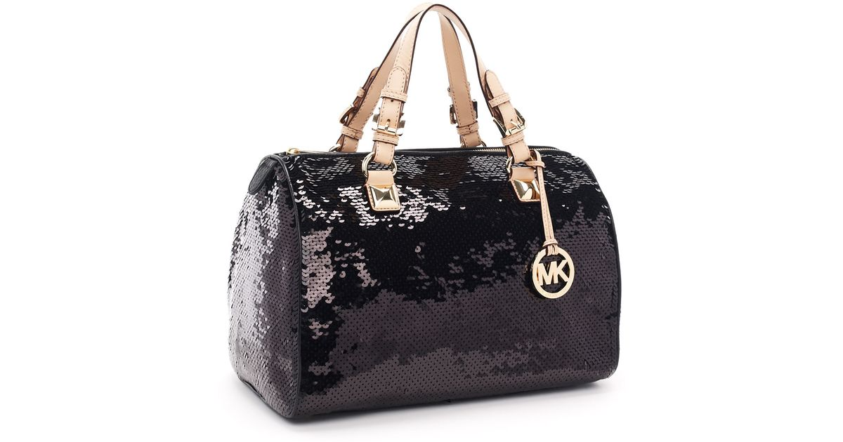 f2b29a06605e ... cheapest lyst michael kors large grayson sequin satchel black in black  03c32 ffa04