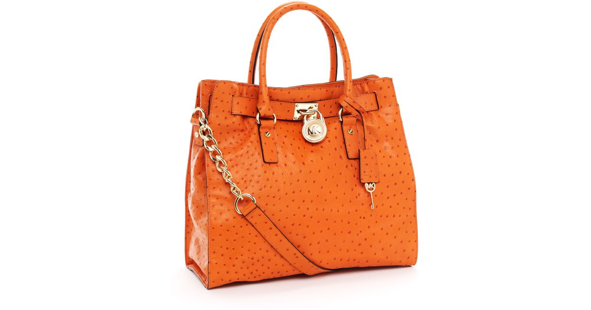 ac3774bf6d3b Lyst - Michael Kors Large Hamilton Ostrich-embossed Tote