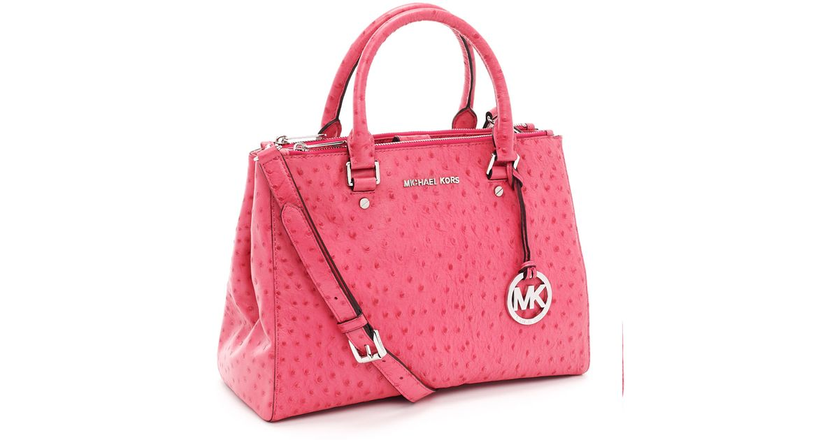 dd871dddb28a Michael Kors Medium Bedford Ostrich Embossed Dressy Tote, Electric Pink  Ostrich in Pink - Lyst