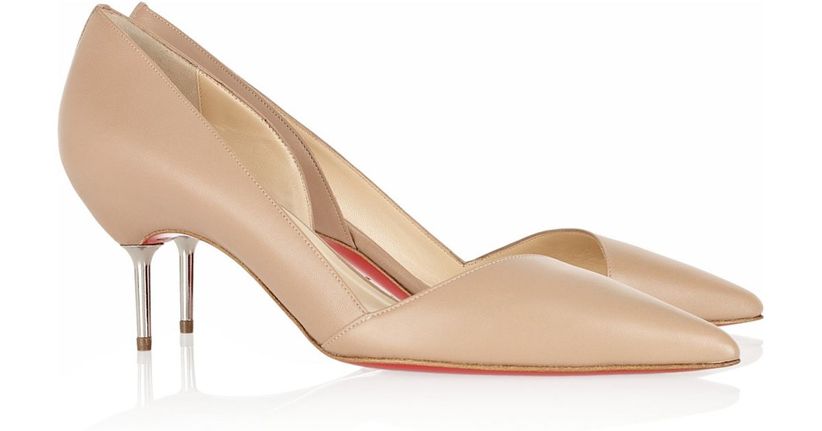 Christian louboutin Newton 70 Cutout Leather Pumps in Beige | Lyst