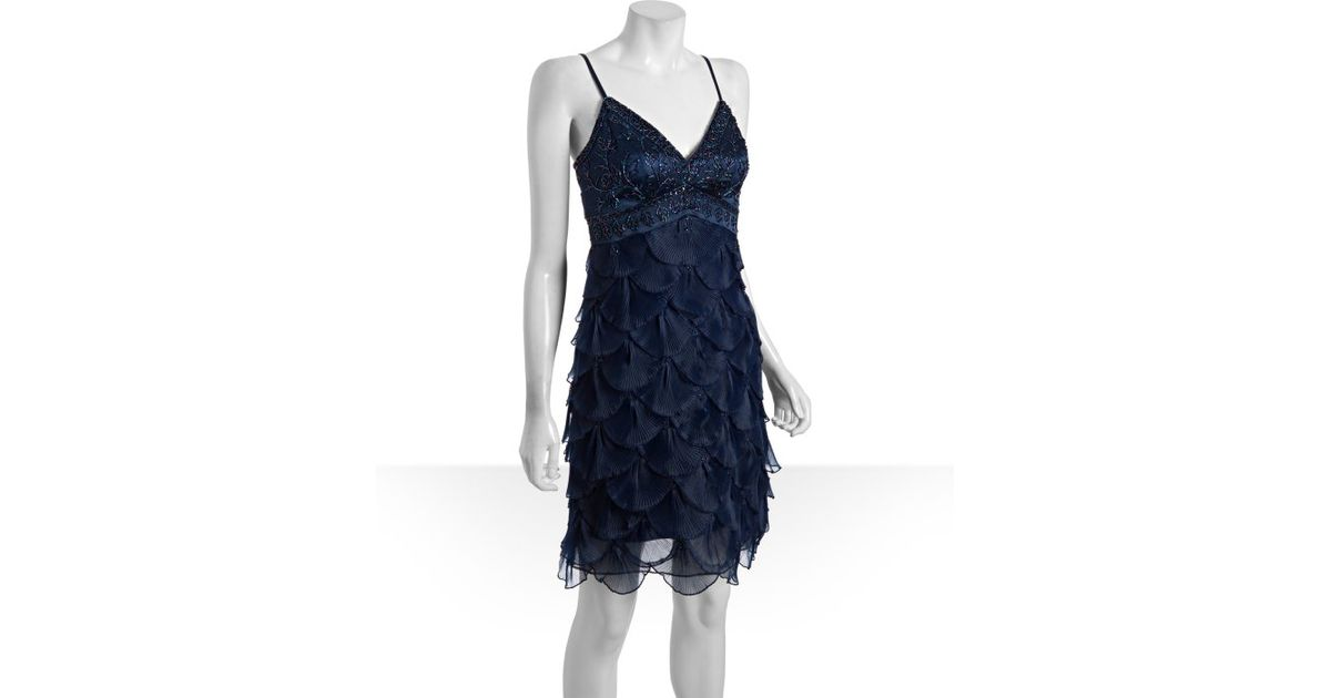 Lyst Sue Wong Navy Beaded Organza Spaghetti Strap Evening Dress In Blue