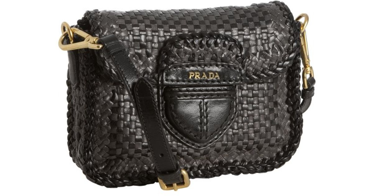 Prada Anthracite and Black Woven Leather Madras Crossbody Bag in ...