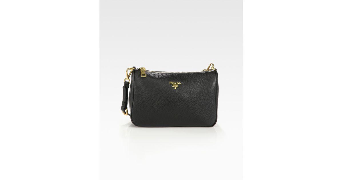 Prada Daino Mini Hobo Bag in Black | Lyst