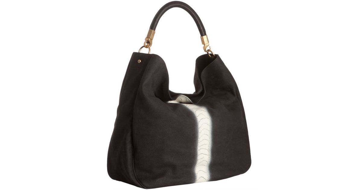 Saint laurent Black Brushed Suede Ostrich Leg Roady Large Hobo in ...