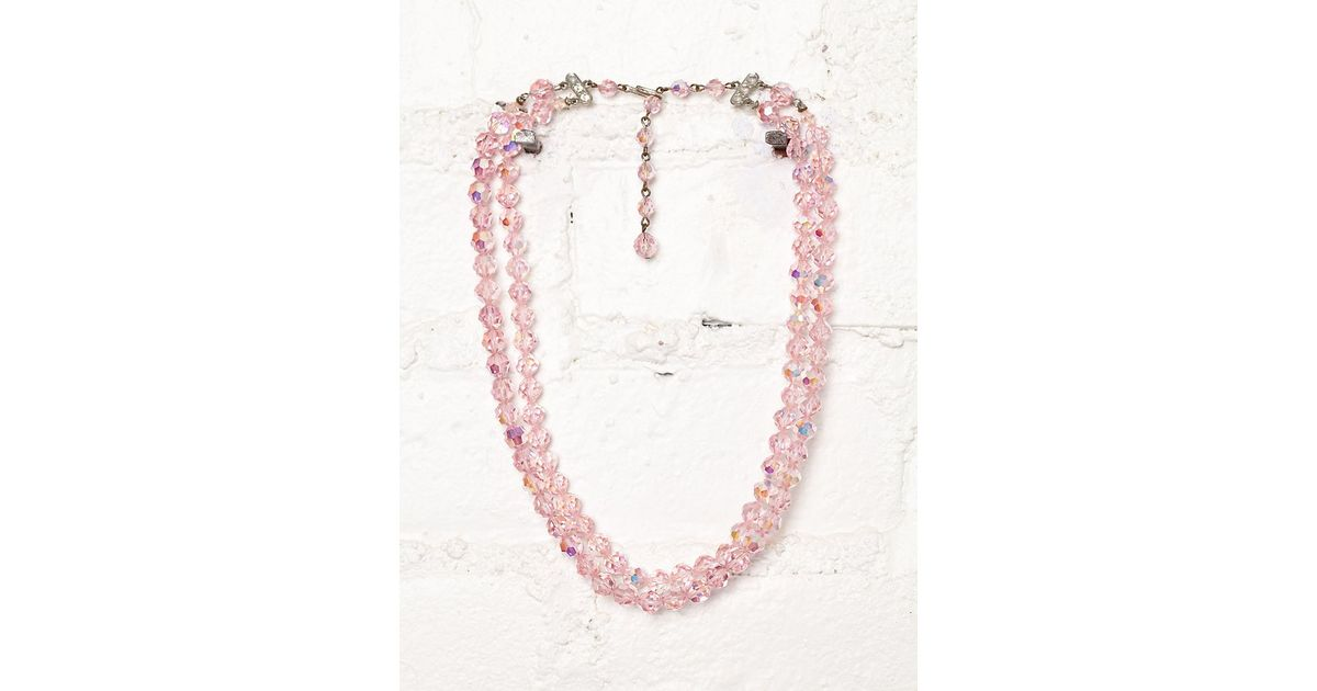 crystal full item earrings vintage pink r necklace hobe with