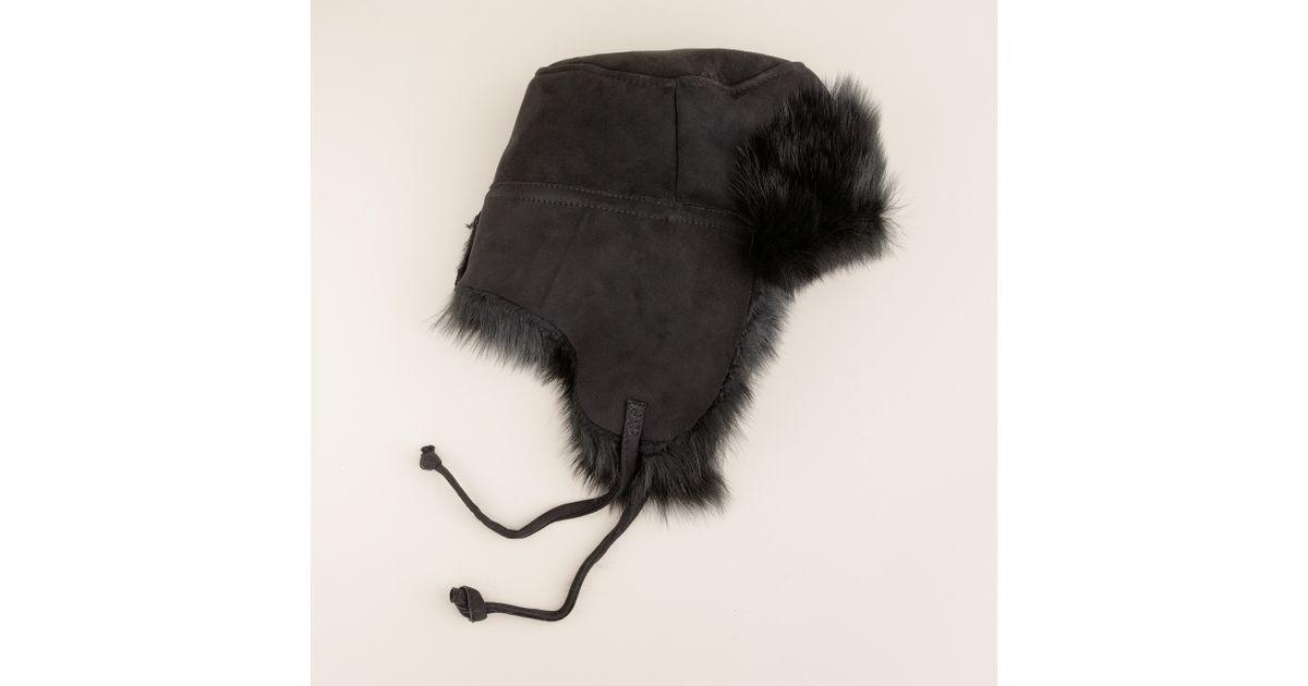 4099c205d3d169 J.Crew Toscana Shearling Trapper Hat in Black - Lyst