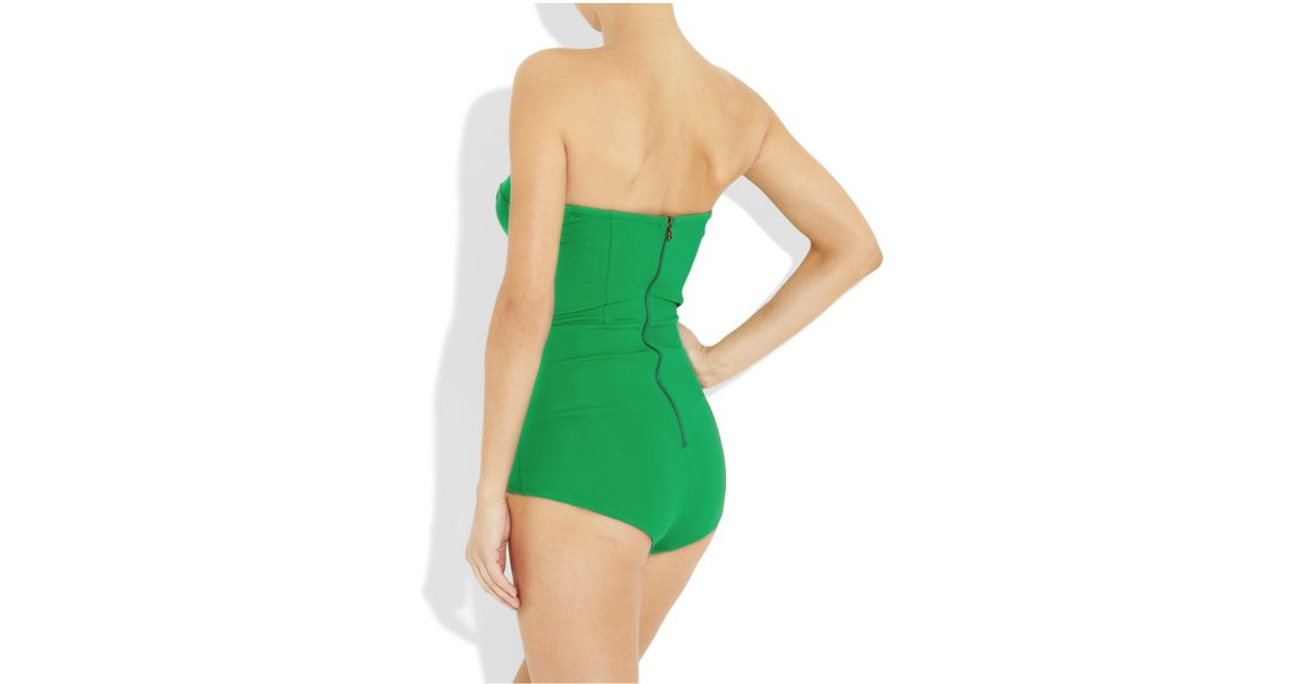 Willow Strapless Stretch Crepe-Jersey Bodysuit in Green - Lyst