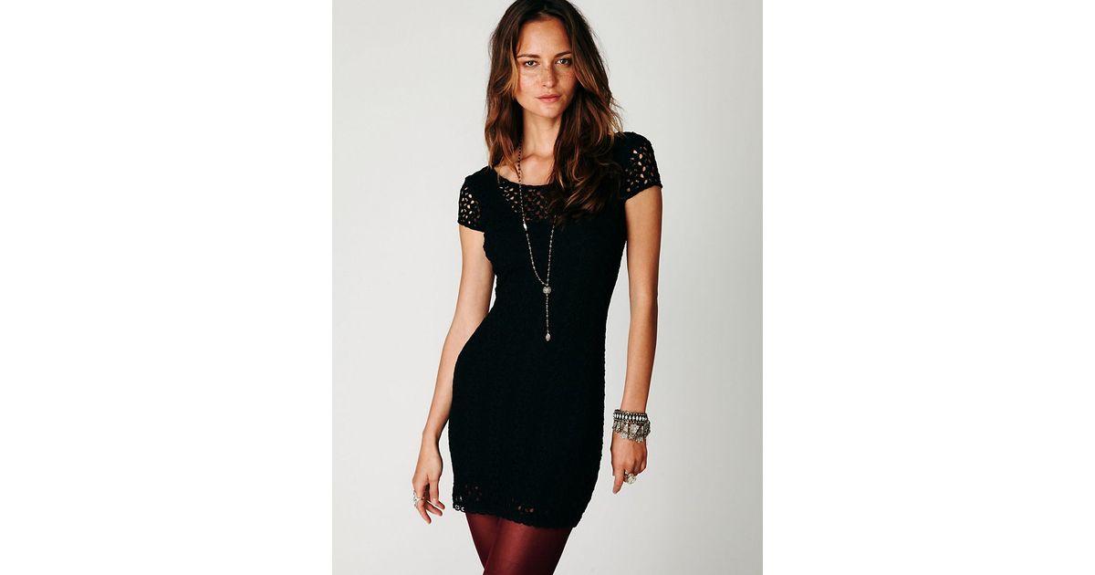 Lyst Free People Cap Sleeve Gypsy Lace Dress In Black