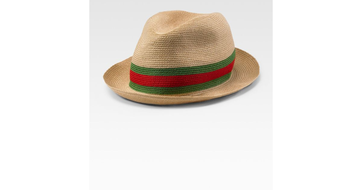 Lyst - Gucci Straw Fedora in Natural for Men 412e5debe317