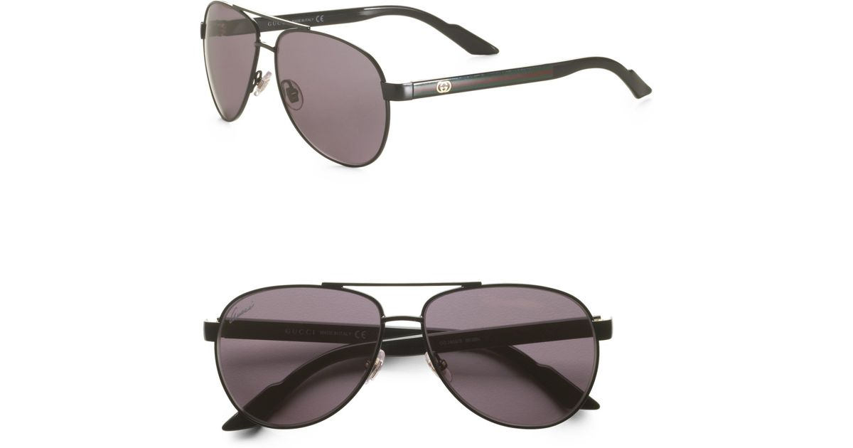 1efe811be73 Lyst - Gucci Small Metal Aviator Sunglasses in Green for Men