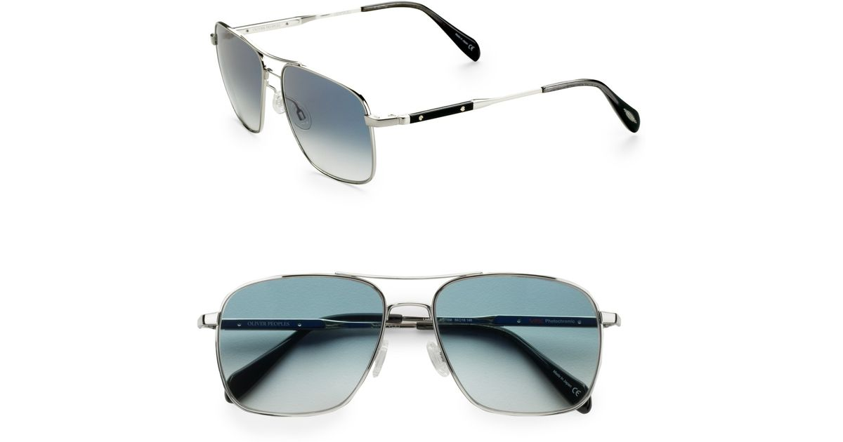 e3b18f0e2f Lyst - Oliver Peoples Linford Aviator Sunglasses silver in Blue for Men