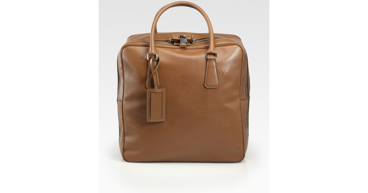 Prada Saffiano Travel Bag in Brown for Men (tan) | Lyst - prada trolley burgundy