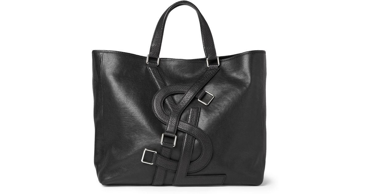f8a50c7e44 Lyst - Saint Laurent Black Leather Vavin Logo Buckle Large Tote in Black  for Men