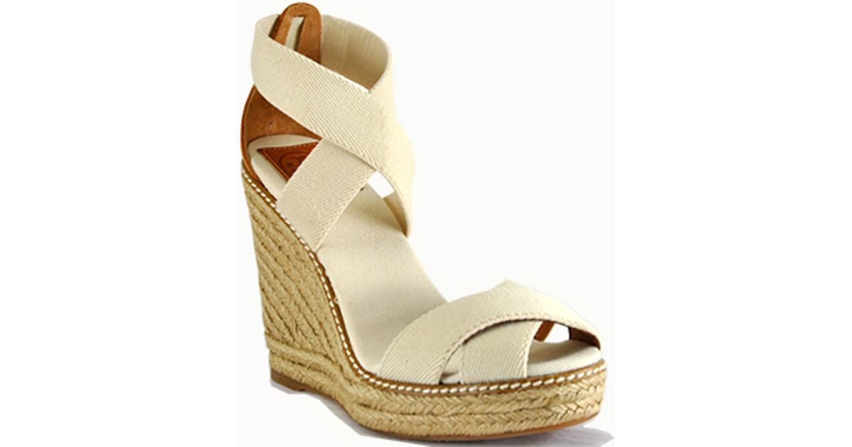 bb2c546d864a Tory Burch Adonis - Ivory Canvas Espadrille Wedge Sandal in Natural - Lyst