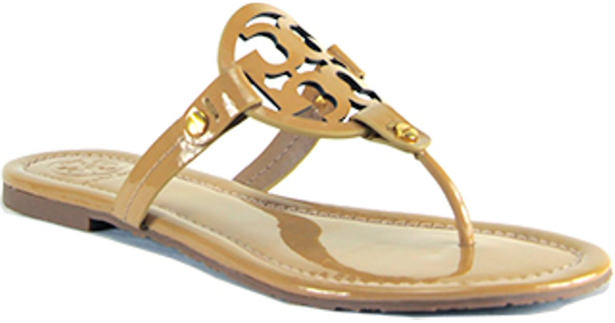 b6aaad54acba3 Tory Burch Miller - Sand Patent Logo Thong Sandal in Natural - Lyst