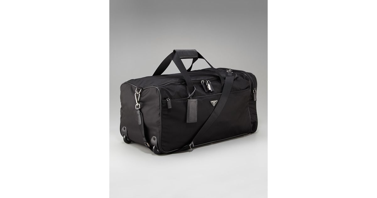 761d4dba43d7 Lyst - Prada Rolling Nylon Duffel Bag in Black for Men