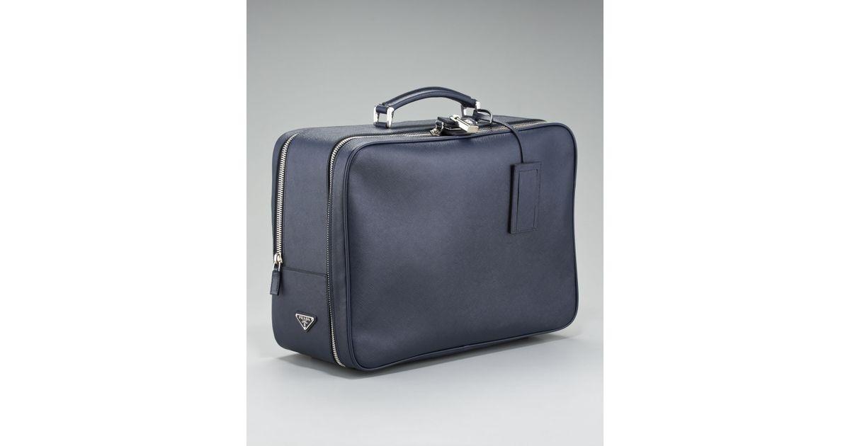 5c90c4be7cd827 Prada Saffiano Travel Bag, Blue in Blue for Men - Lyst