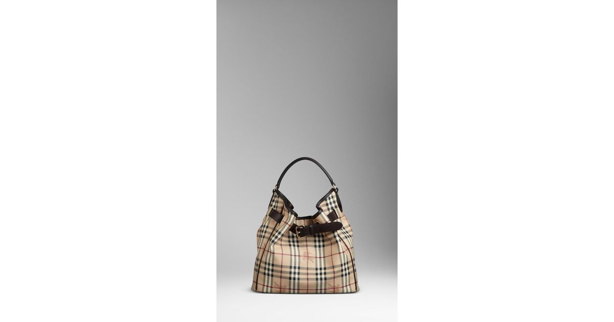 199f20bd09ba Burberry Medium Haymarket Check Belted Hobo in Natural - Lyst