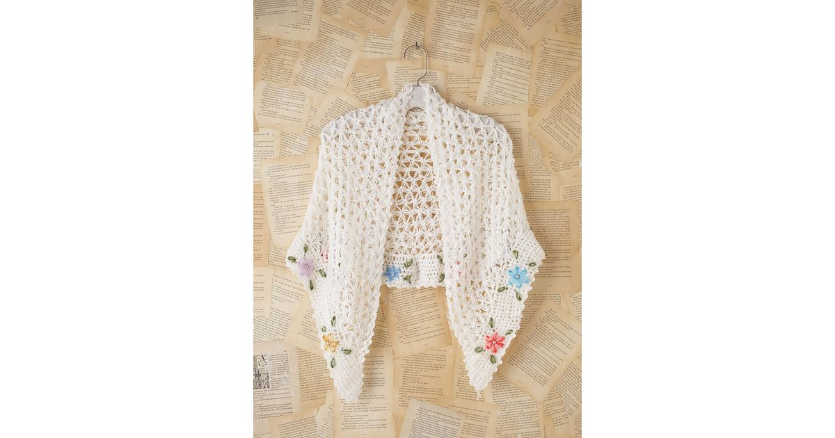 Lyst Free People Vintage Crochet Shawl In Natural
