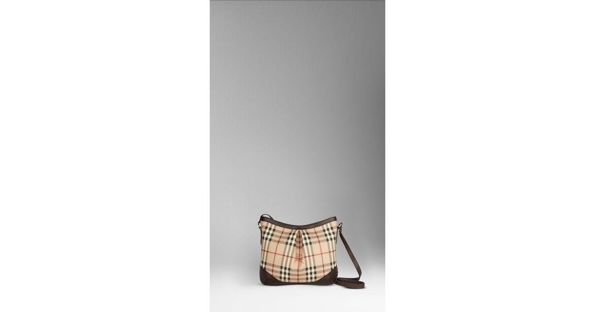 Lyst - Burberry Medium Haymarket Check Crossbody Bag in Brown 404ad29f1b5a6