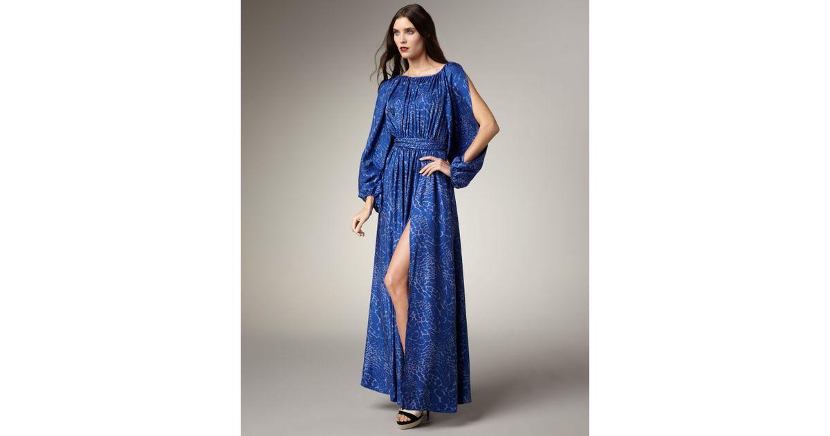Lyst - Rachel Zoe Olivia Leopard-print Gown in Blue