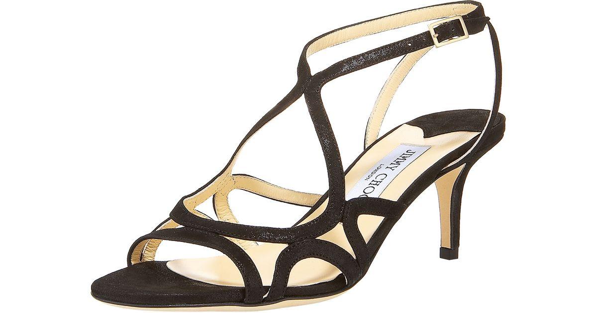 Jimmy choo Glittered Strappy Mid-Heel Sandal in Black | Lyst