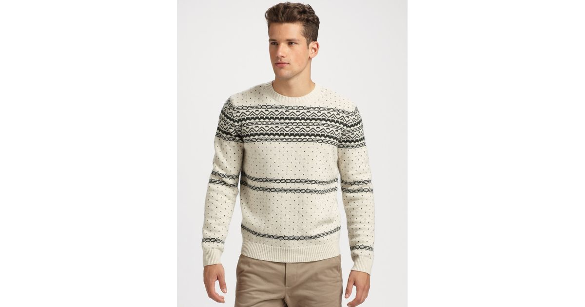 A.p.c. Wool Fair Isle Sweater in Natural for Men | Lyst