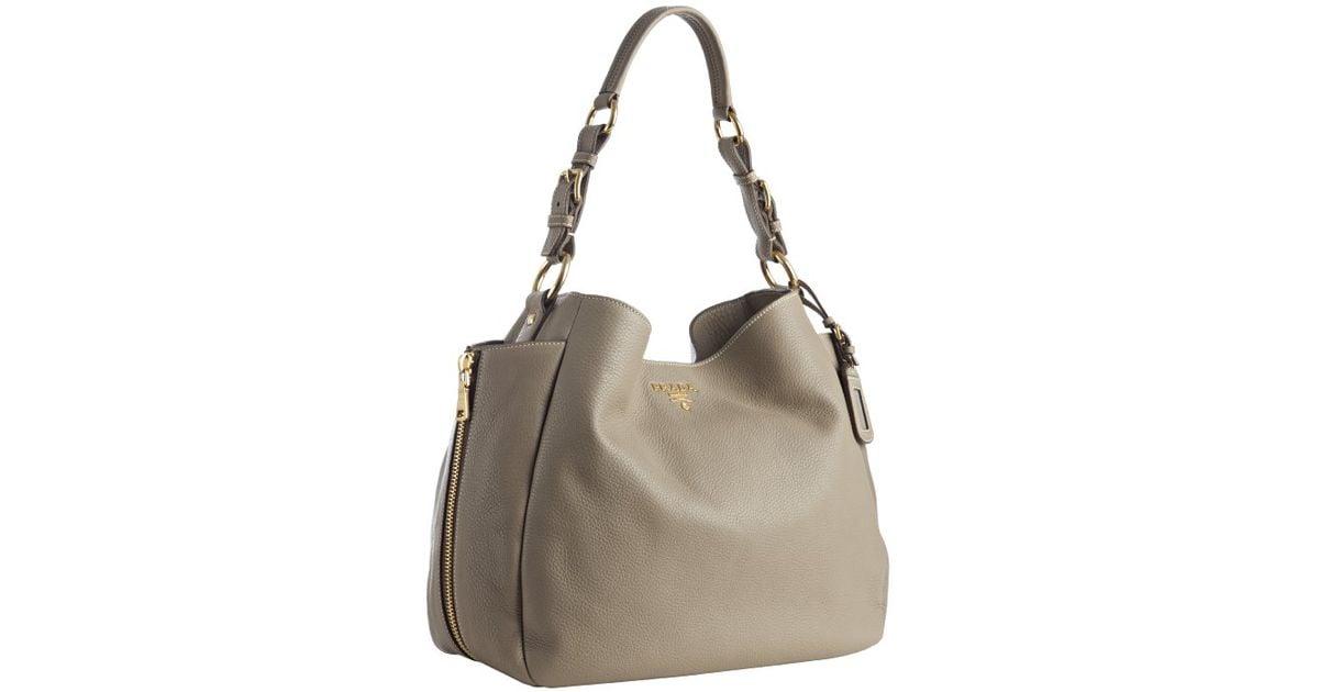 ... reduced lyst prada pebbled deerskin zipper detail shoulder bag in gray  dd3d3 96417 ... 12b454e70eafd