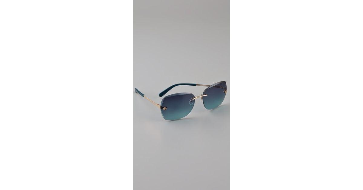 8a7761f2e9e4 Lyst - Tory Burch Rimless Aviator Sunglasses in Blue