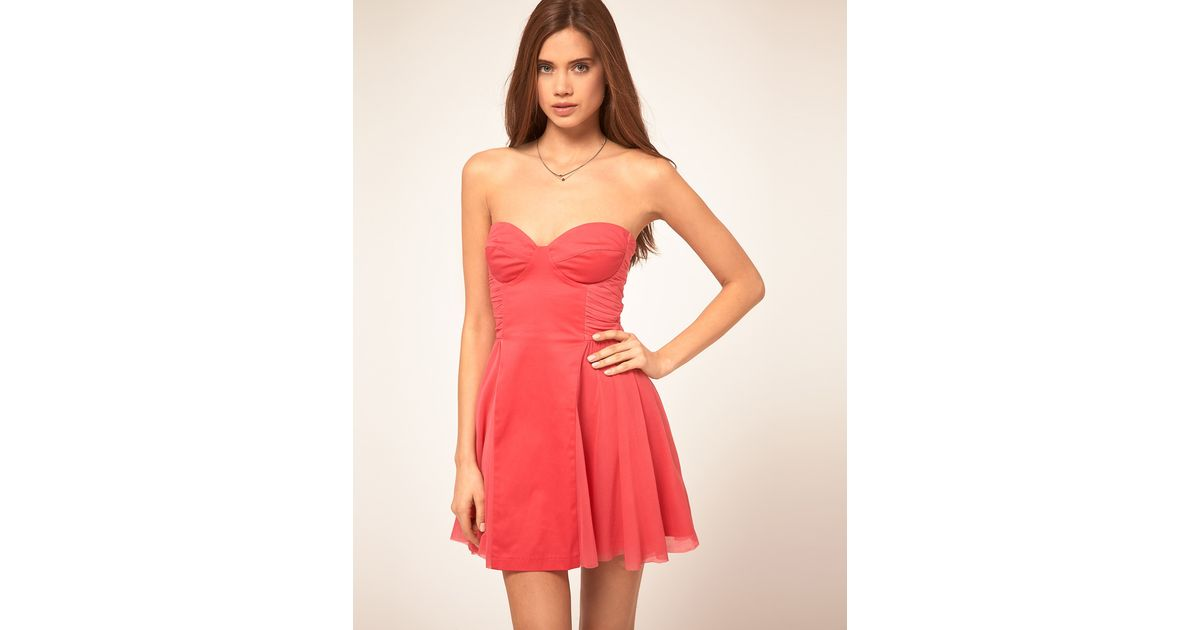 919e1bfae108 ASOS Collection Asos Strapless Skater Dress with Sweetheart Neckline in  Pink - Lyst