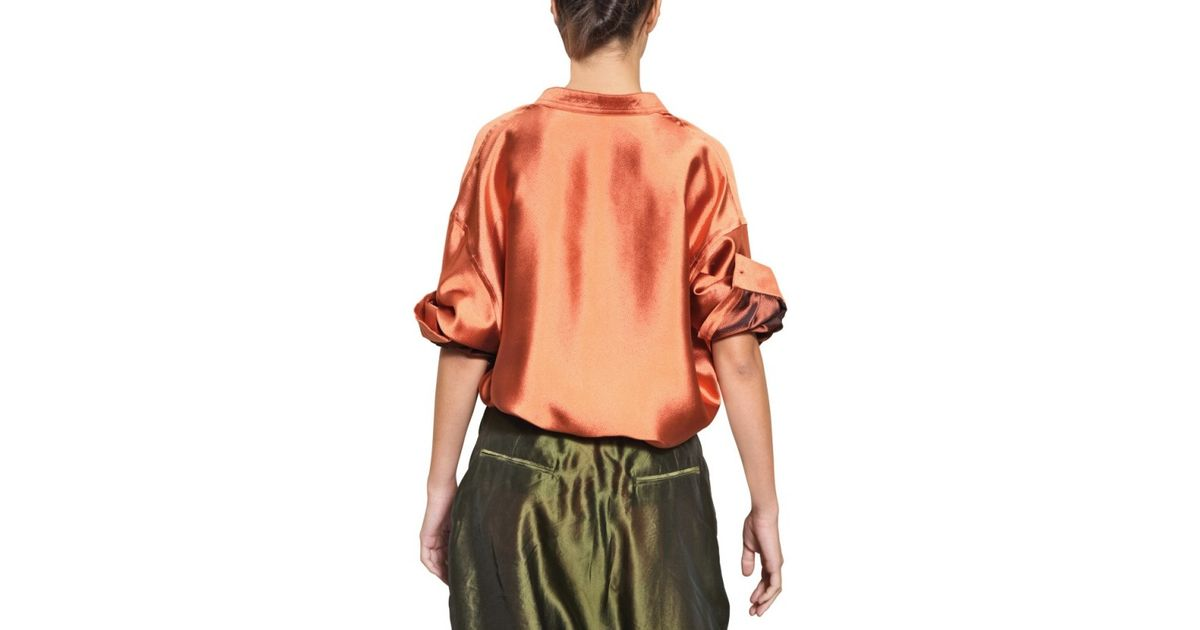 7408eb7a351cc Lyst - Haider Ackermann Oversize Silk Shantung Shirt in Orange