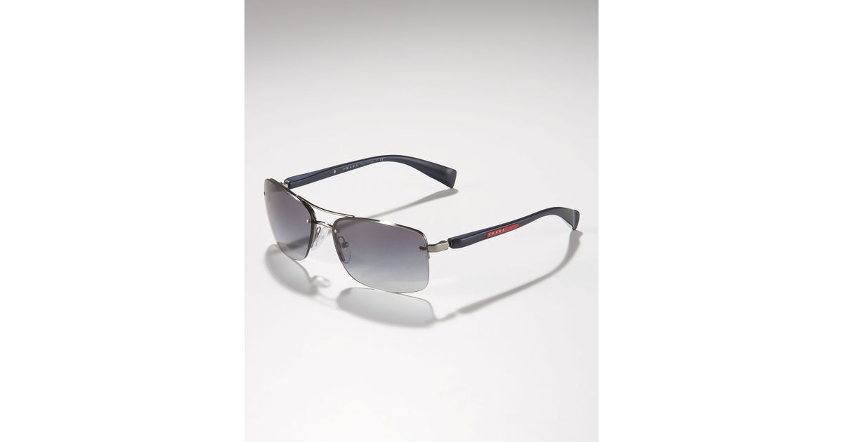 54c76be7f575 ... canada lyst prada metal navigator sunglasses in gray for men a0043 65fa2