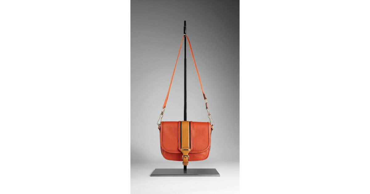 Burberry Small Grainy Leather Crossbody Bag in Orange - Lyst b408564ec2c20