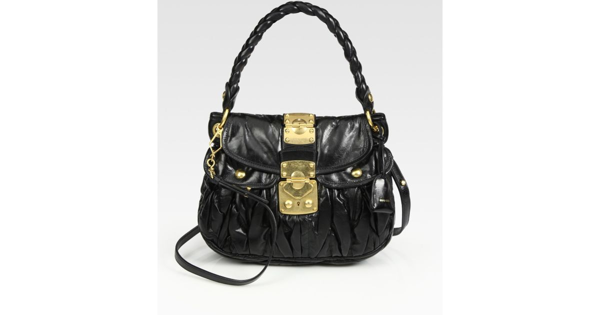 bc7aded24a52 Lyst - Miu Miu Small Lux Matelasse Coffer Bag in Black